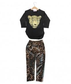 Leopard Tee + Midi Pant - Black