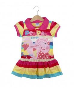 Peppa Collared Stripe Dress - Pink Yellow